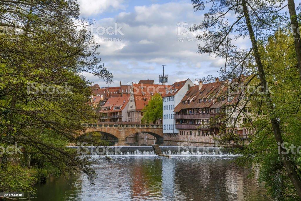 river Pegnitz in Nuremberg, Germany stock photo