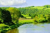 valley of the river wye wales england border monmouthshire herefordshire uk