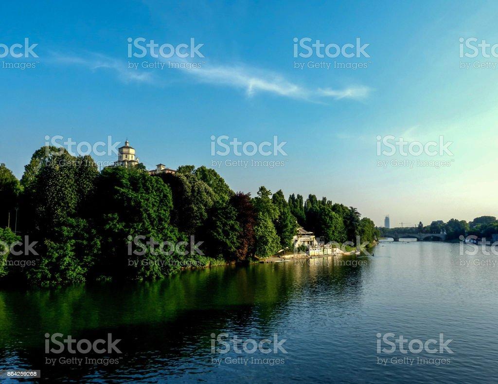 River Po and Monte dei Cappuccini, Turin royalty-free stock photo