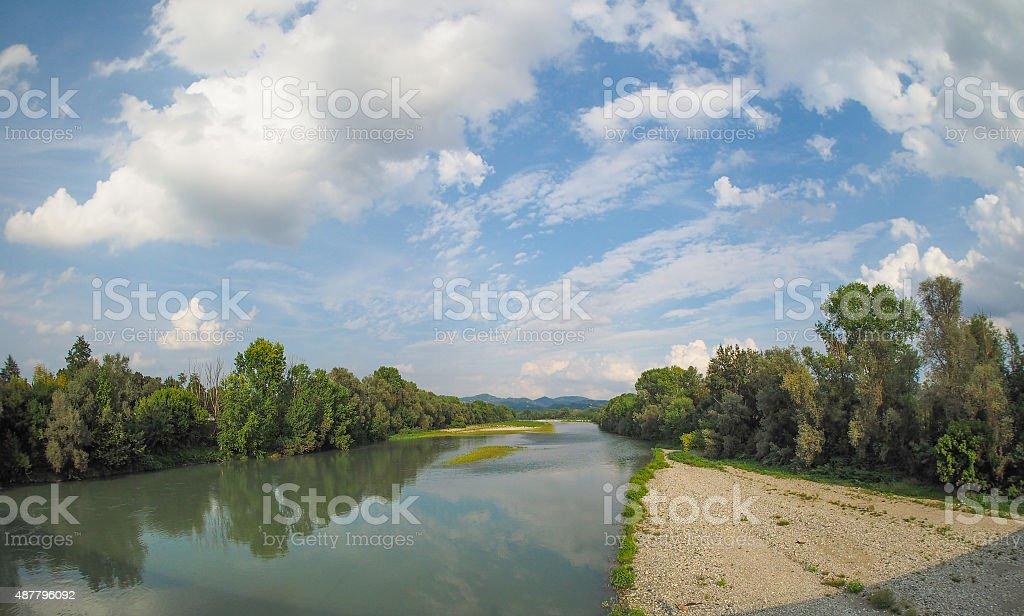 River Po in Settimo Torinese stock photo