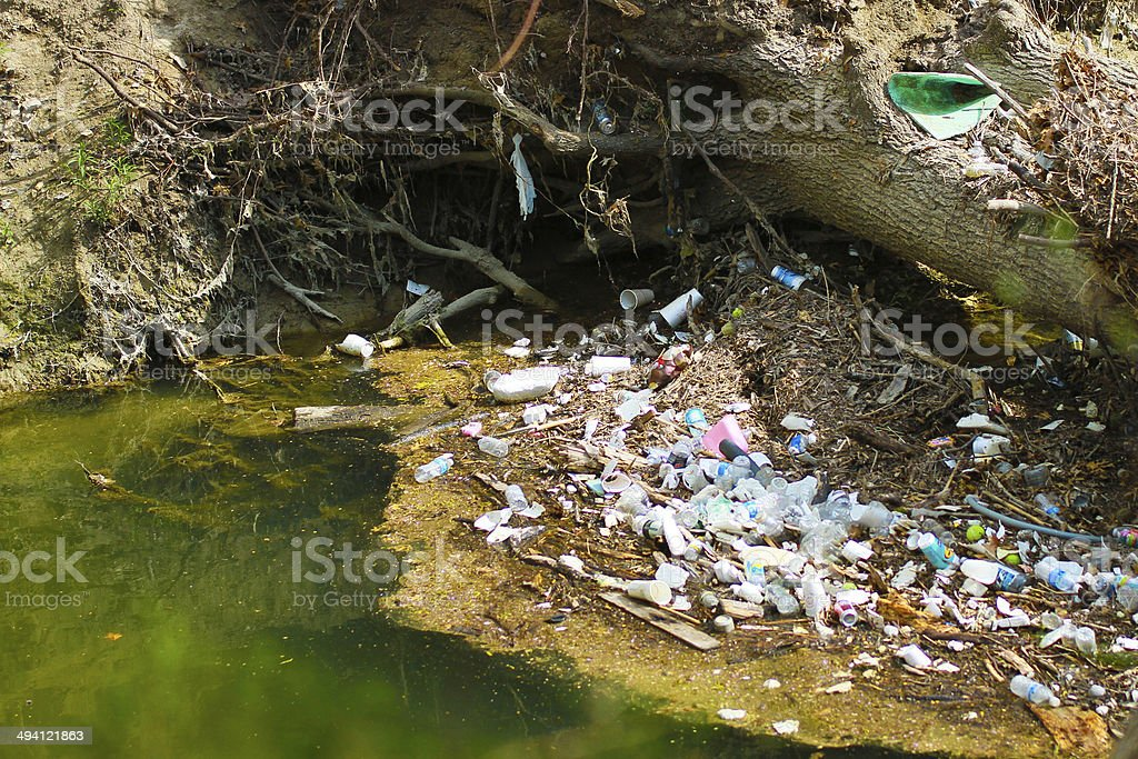 River pollution - Stock Image stock photo