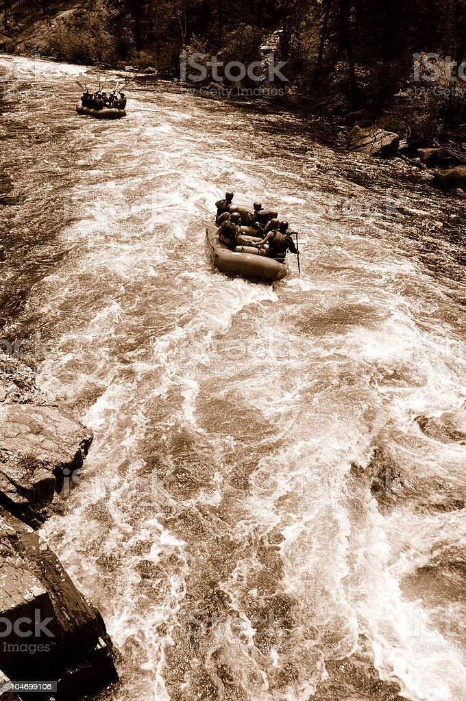 River Rafting in Sepia royalty-free stock photo