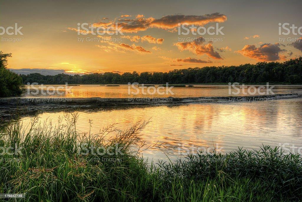 River Rapids Sunset stock photo