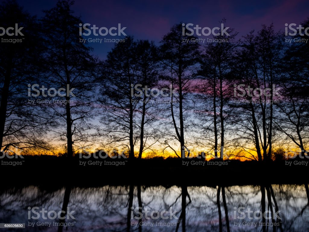 River Reflections at Sunset stock photo