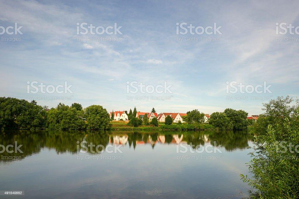 river rhein landscape near ladenburg at heidelberg germany stock photo