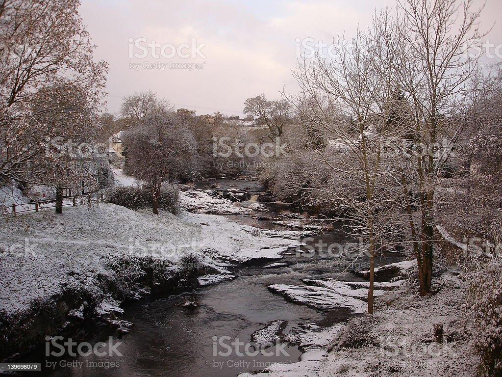 River Rhiew, wintry scene stock photo
