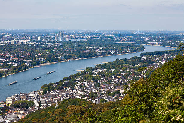 River Rhine near by Bonn and Königswinter View from the mountain Drachenfels, Panorama of Bonn and Königswinter north rhine westphalia stock pictures, royalty-free photos & images