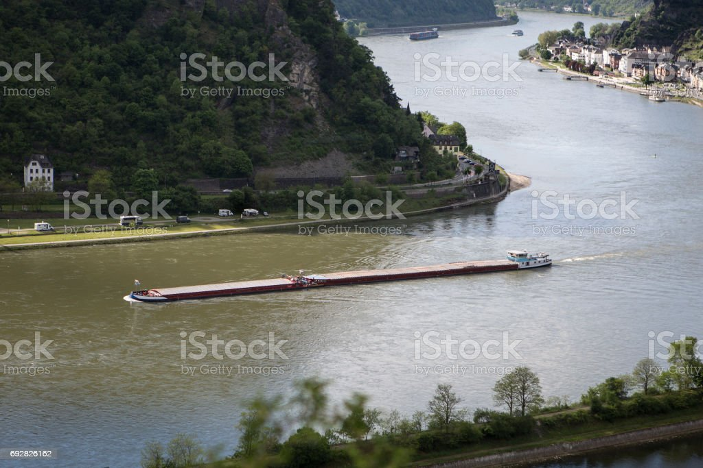 River Rhine - northbound view from Loreley rock stock photo