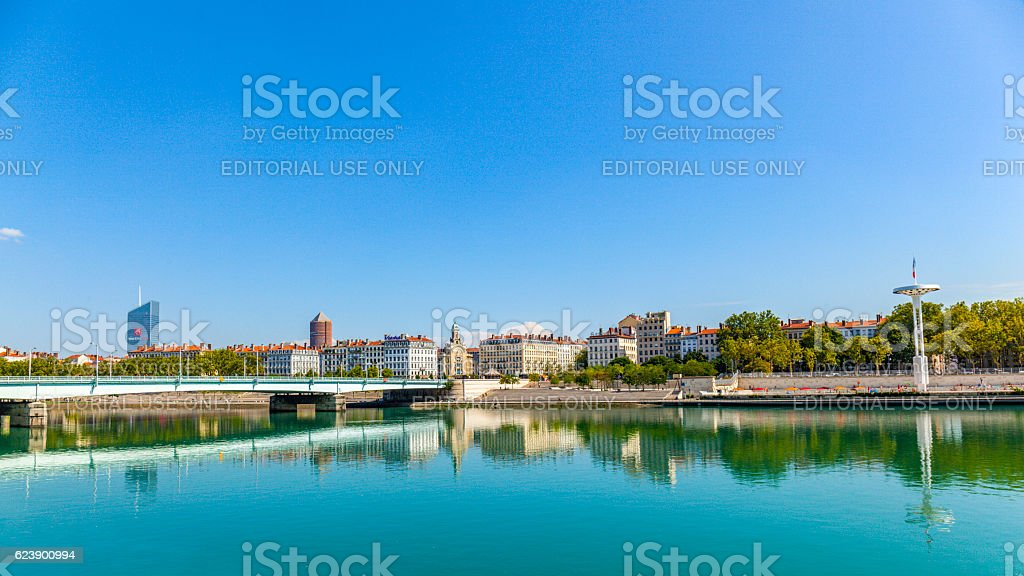River Rhone in France with view  to centre Nautique stock photo