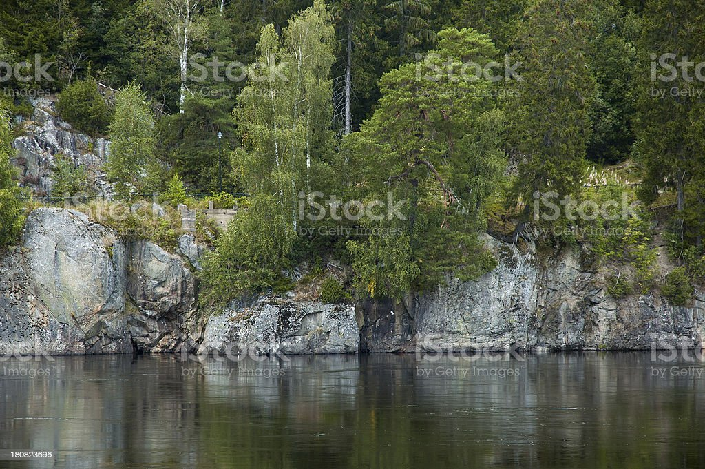 River, rock and trees in Norway royalty-free stock photo