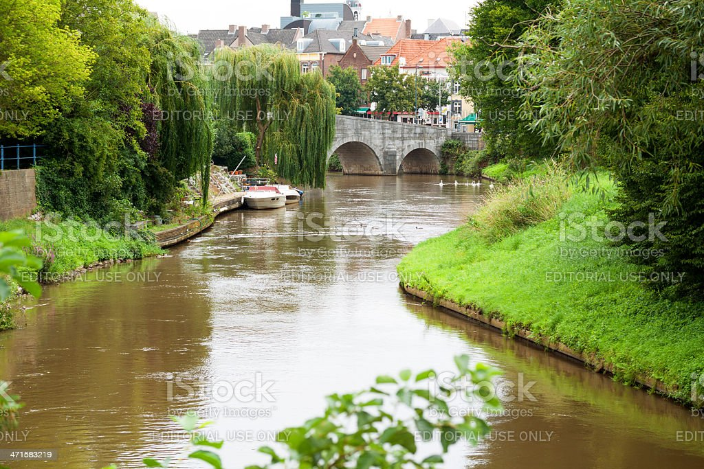 River Roer and Roermond stock photo