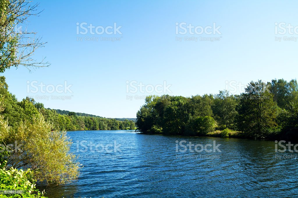 River Ruhr in south of Essen stock photo