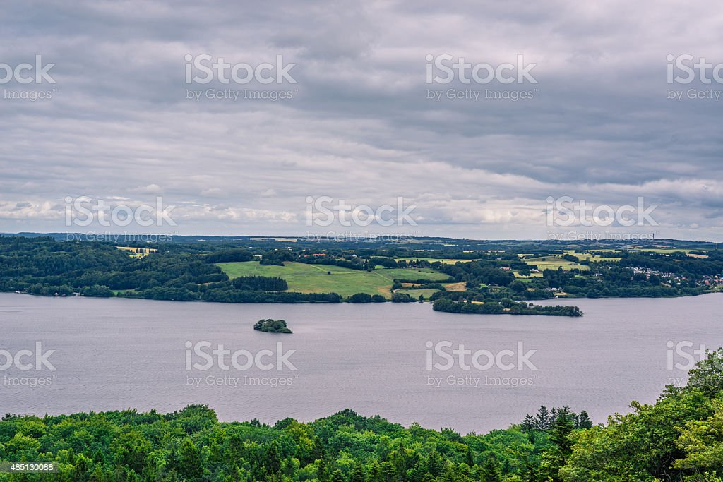River running through a landscape in Denmark stock photo