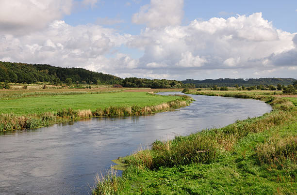 River running through a valley A river running through a valley in Denmark. It is called the Gudenå. riverbank stock pictures, royalty-free photos & images