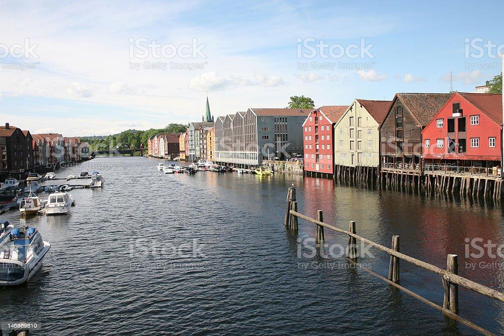 River running through Trondheim city, Norway royalty-free stock photo