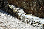 A river runs in mountain, deep valley with steep banks, rocky stream bed