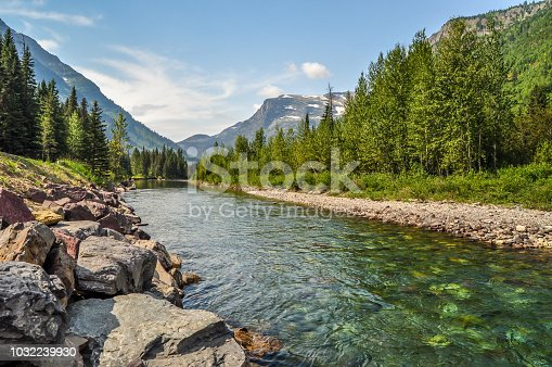 A river runs calmly through a valley in Glacier National Park of Montana.