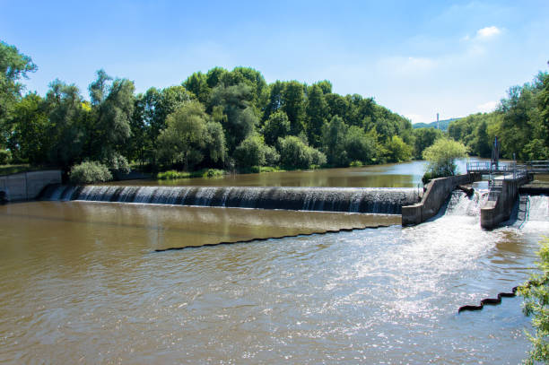 River Saale flowing through German city Jena, Germany stock photo