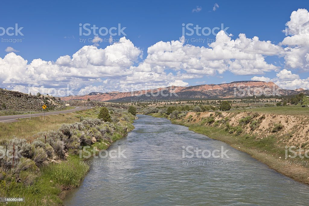 River Scene besides the Road stock photo