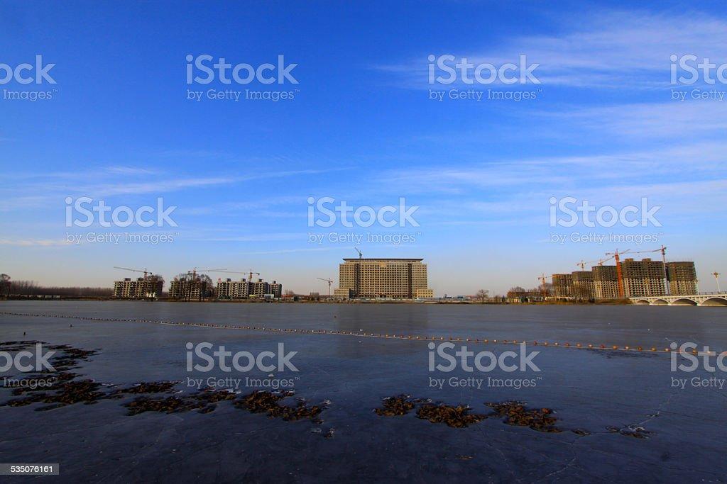 river scenery in a park in winter stock photo