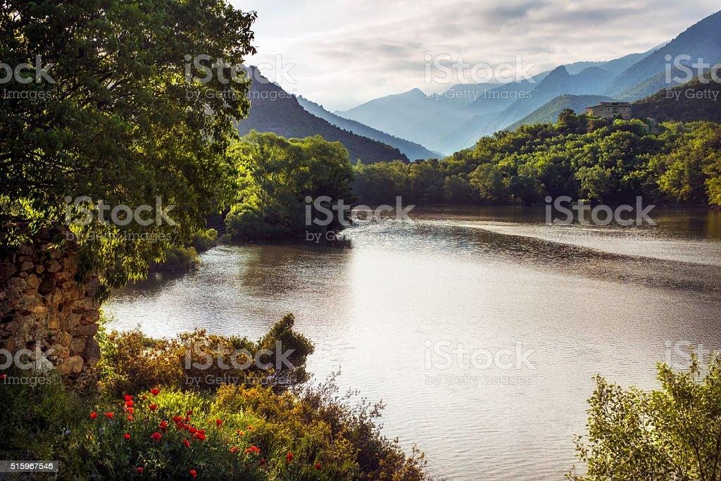 River Segre near the Pyrennes stock photo
