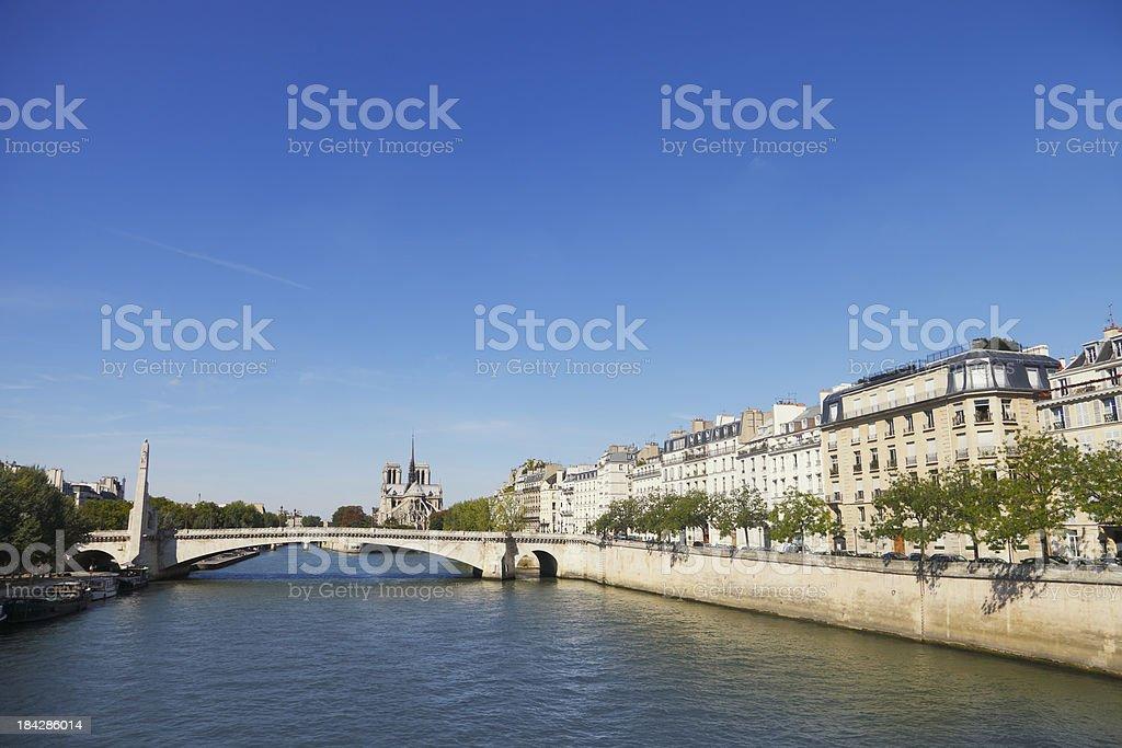 River Seine and Notre Dame, Paris stock photo