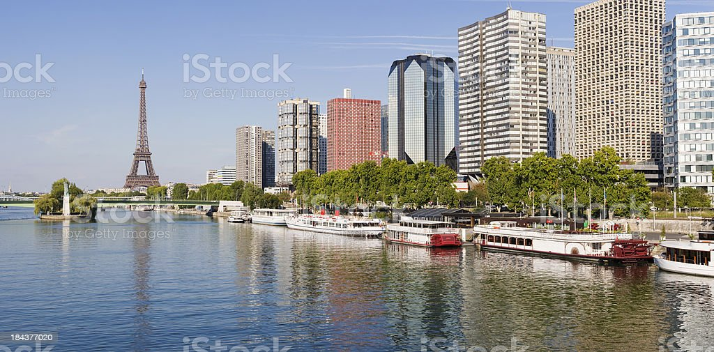 River Seine and Riverside in Paris France stock photo