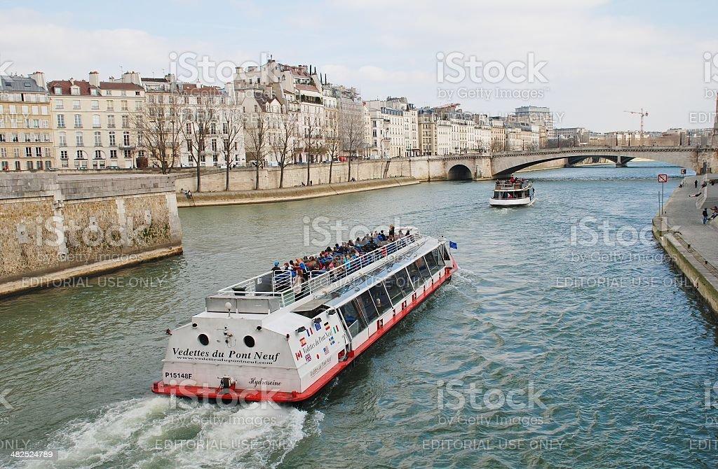 River Seine excursion boats stock photo
