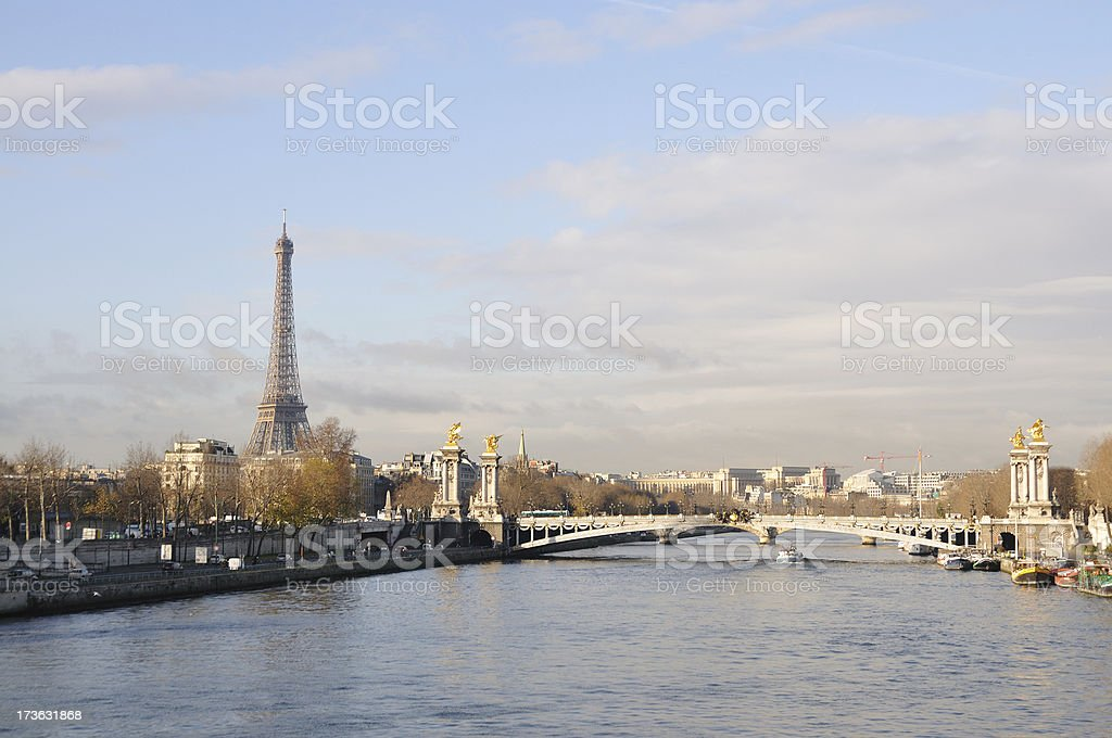 River Seine with Eiffel Tower on left bank stock photo