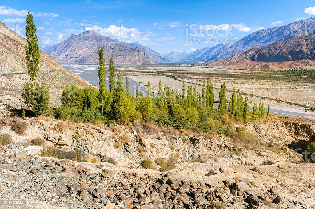River Shyok in Nubra Valley, Ladakh, India stock photo