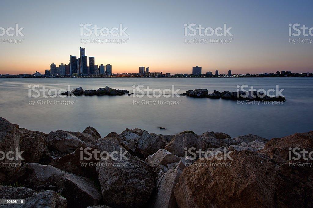 River Skyline Overlooking Detroit, Michigan as seen from Windsor, Ontario stock photo