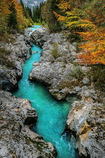River Soca Close Up,Trenta valley,Primorska, Julian Alps,Slovenia, Europe