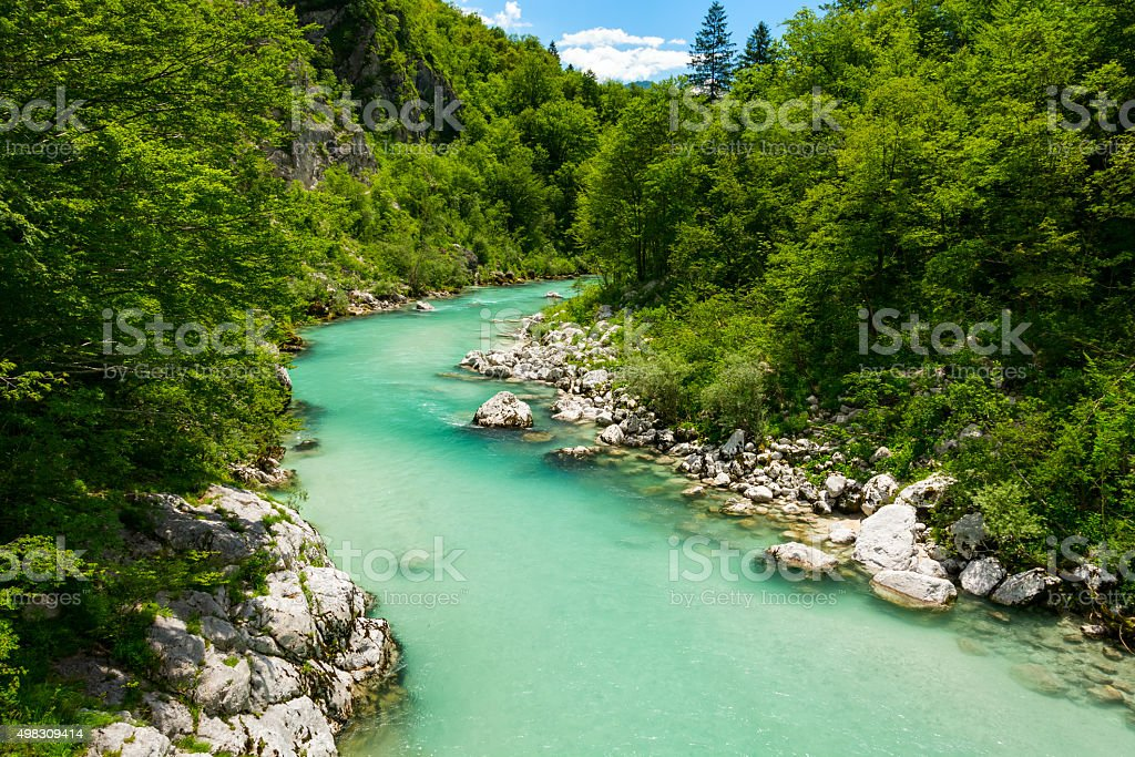 River Soca near Kobarid stock photo