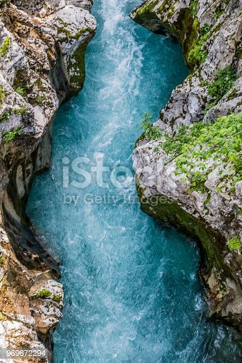 River Soča in Valley of Trenta in Julian Alps, Slovenia, Europe.