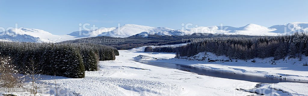 River Spey and Cairngorms in winter, Scottish Highlands stock photo