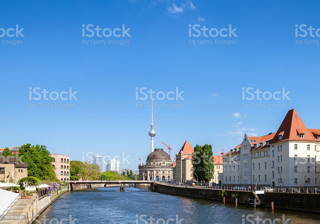 River spree in Berlin with Museum island and Fernsehturm stock photo