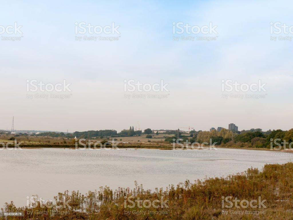 river stream scene autumn empty coast outside water sea stock photo