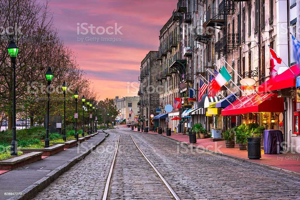River Street in Savannah Georgia stock photo