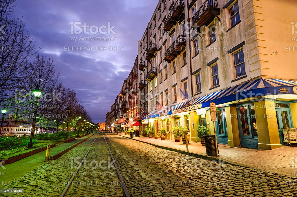 River Street in Savannah stock photo