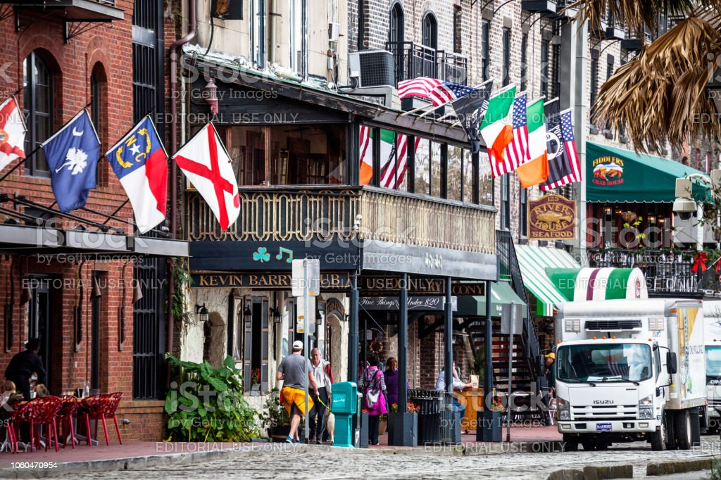 River Street, Savannah, Georgia stock photo