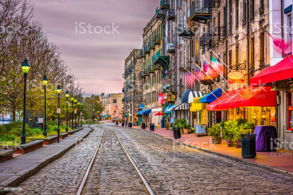 River Street, Savannah, Georgia, USA stock photo