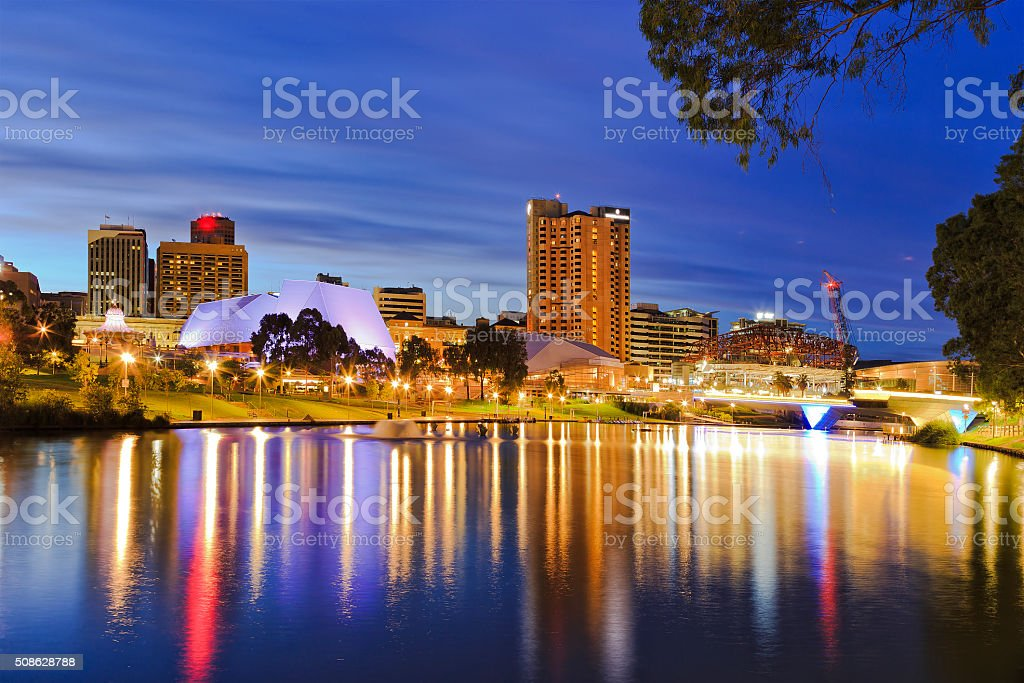 ADE river sunrise Capital of SOuth Australia - Adelaide city CBD at sunrise reflecting in still waters of torrens river Adelaide Stock Photo