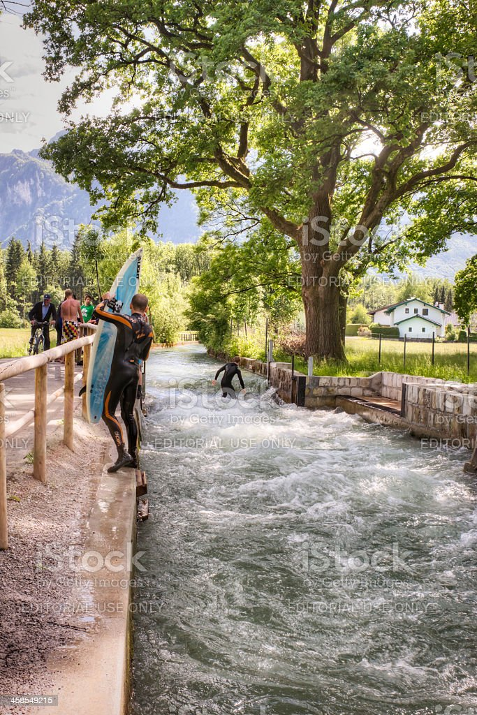 River Surfing in the Alps stock photo