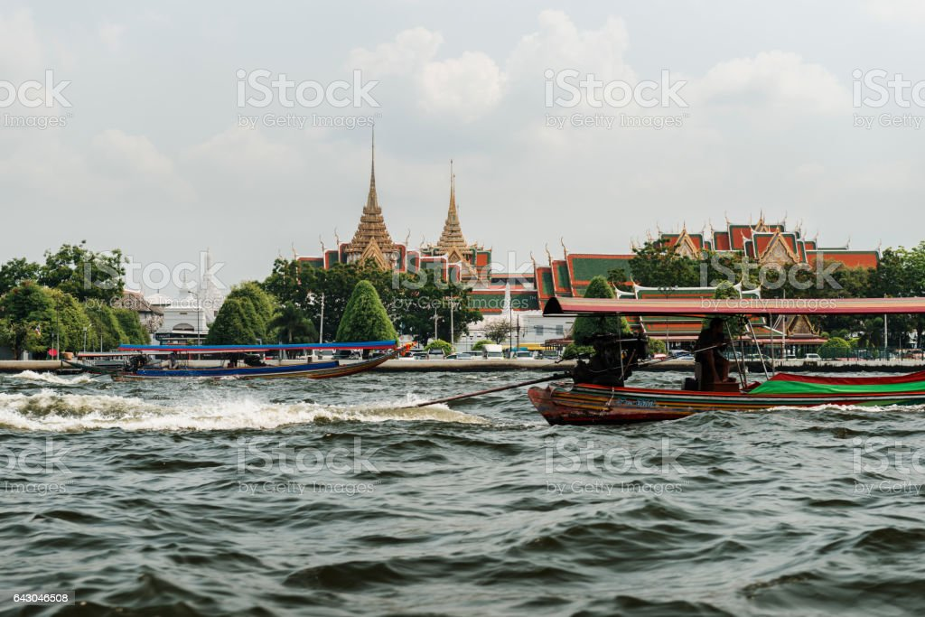 River taxi boats, Chao Prayha River, Royal Palace in Bangkok stock photo