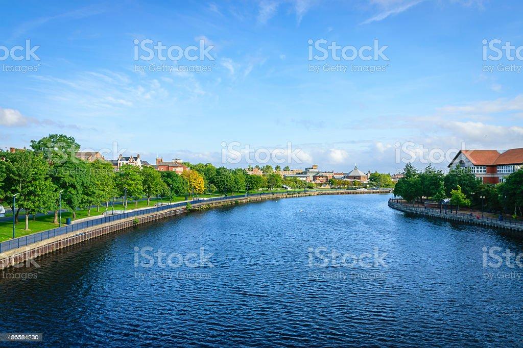 River tees at Stockton-on-tees, England stock photo