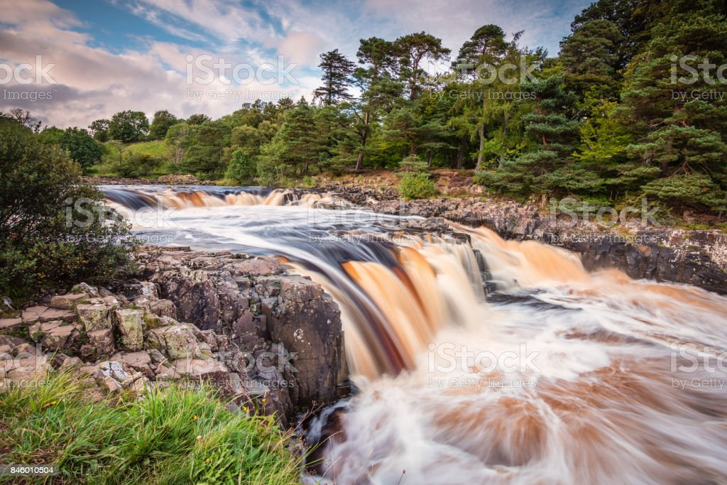 River Tees cascades over Low Force stock photo