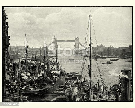 Vintage photograph of River Thames and Tower Bridge, London, 19th Century