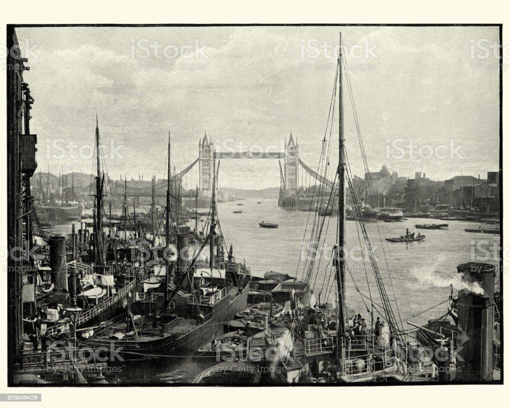 River Thames and Tower Bridge, London, 19th Century stock photo