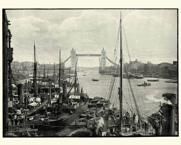 River Thames and Tower Bridge, London, 19th Century Vintage photograph of River Thames and Tower Bridge, London, 19th Century bascule bridge stock pictures, royalty-free photos & images