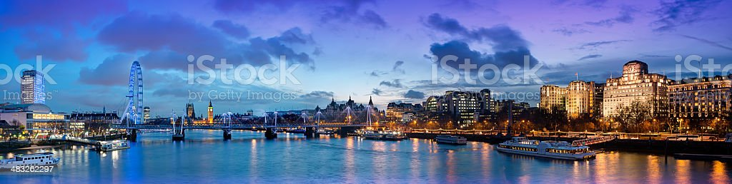River Thames and Westminster Night Panorama London England stock photo